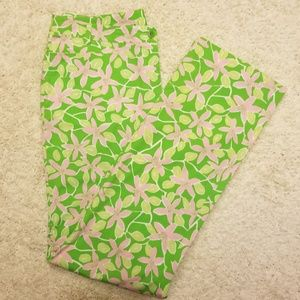 Lily Pulitzer Pink Green Floral Pants